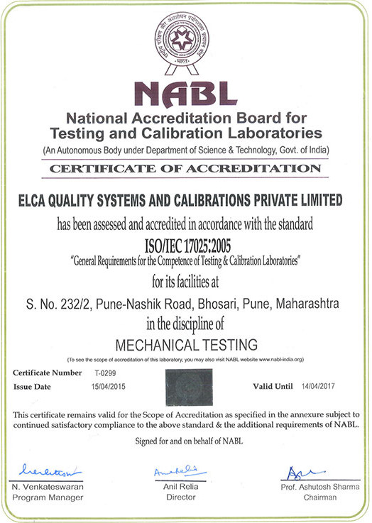 Elca Laboratories An Iso Iec 17025 Accredited Material