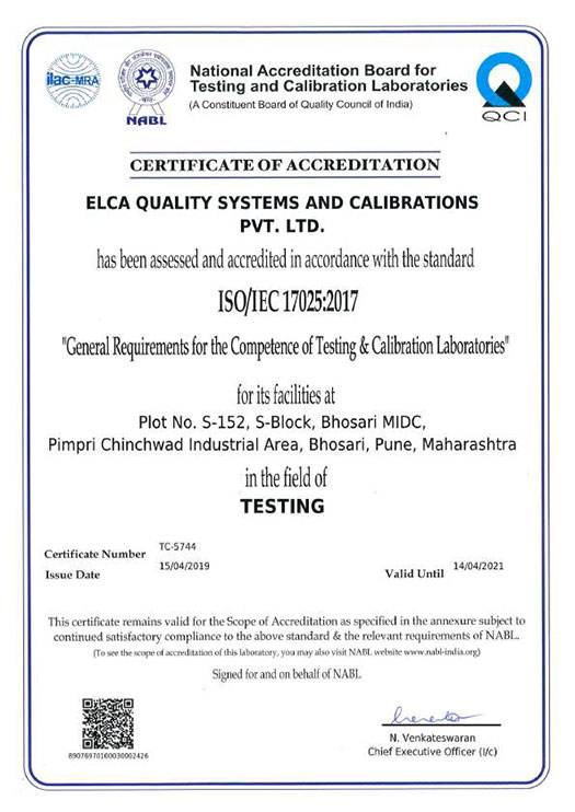 ELCA laboratories: leading ISO 17025 and NABL accredited
